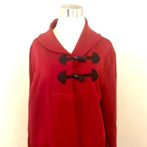 CHAPS Red Shawl Collar Cotton Toggle Jacket